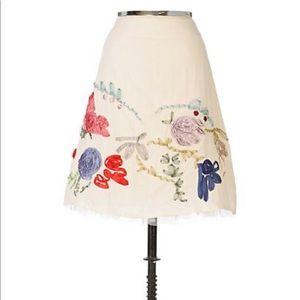 ANTHROPOLOGIE Karen Nicol Cream Floral Skirt 4